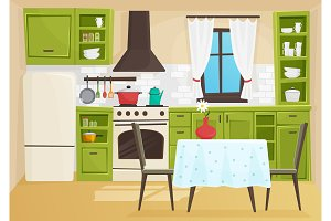 Cartoon vintage retro kitchen