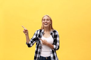 Laughing young woman in t-shirt