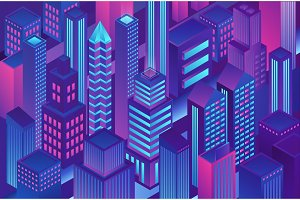 Isometric violet blue gradient city