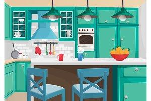 Cozy vintage retro kitchen interior