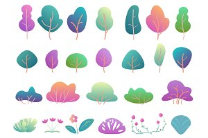Gradient trees and bushes set