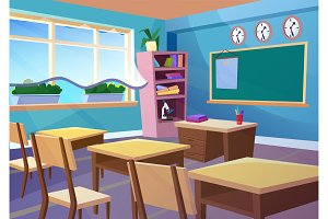 Empty school classroom interior