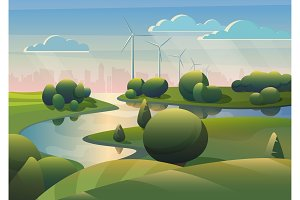 Green fields landscape wind turbines