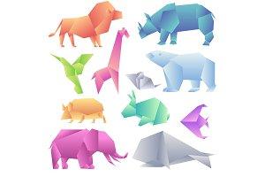 Low poly modern gradient animals set