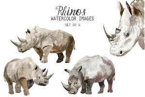 Watercolor Rhino Clipart