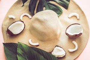 Summer still life with beach hat