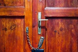 Wooden door and locked