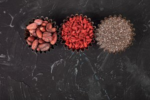Various superfoods in small bowl on