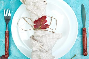 Fall table setting for Thanksgiving