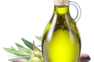 Bottle of olive oil and olive berrie