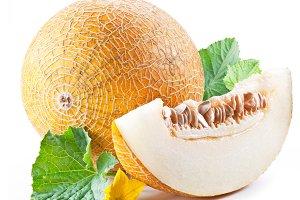 Ripe melon and melon slice on white
