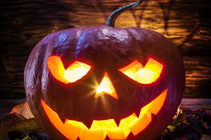 Grinning pumpkin latern or jack-o'-l