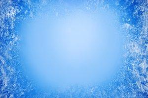 Frost patterns on frozen window as a