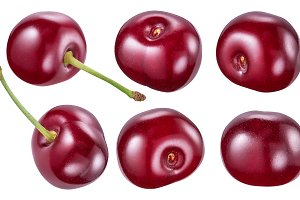 Set of cherry berries. Clipping path