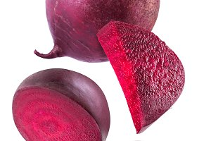 Red beet or beetroot and slices on w