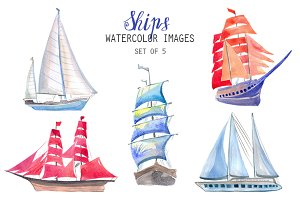 Watercolor Ships Clipart