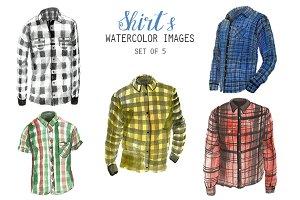 Watercolor Shirts Clipart