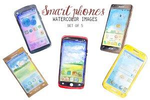 Watercolor Smartphones Clipart