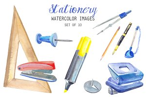 Watercolor Stationery Clipart