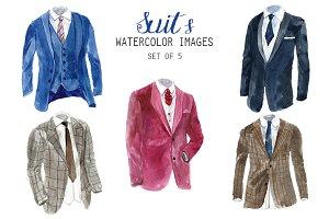 Watercolor Suits Clipart