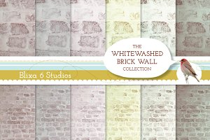Whitewashed Brick Wall Backgrounds