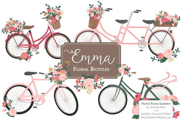 Rose Bicycles Clipart & Vectors