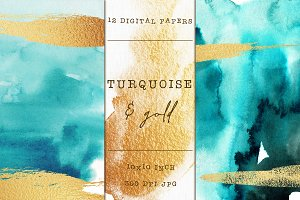 12 Turquoise & Gold digital papers