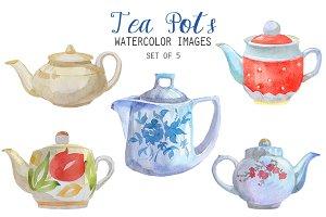 Watercolor Tea Pots Clipart