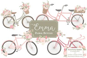 Soft Pink Floral Bicycles Clipart