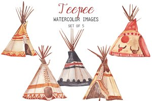 Watercolor Teepee Clipart