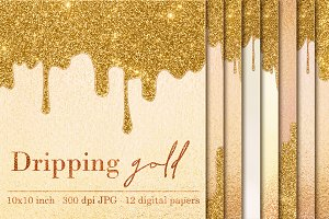 12 Dripping Gold digital papers