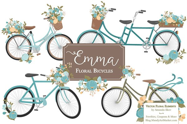 Vintage Blue Floral Bicycles