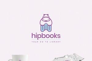 A Hippo on Books Logo Template