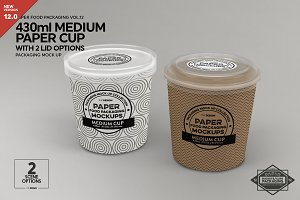 Medium Cup with 2 Lid Options Mockup