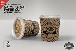 Large Cup with 2 Lid Options Mockup