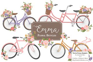 Wildflowers Floral Bicycles Clipart