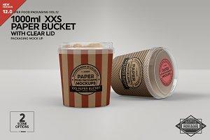 XXS Paper Bucket Clear Lid Mockup