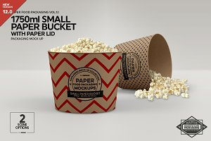 Small Paper Bucket Paper Lid Mockup