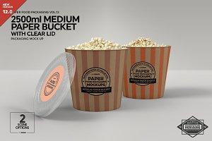 Medium Paper Bucket Clear Lid Mockup