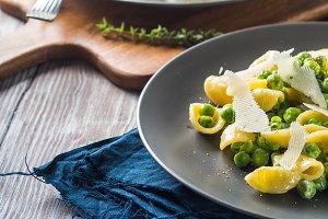 Italian orecchiette pasta with peas