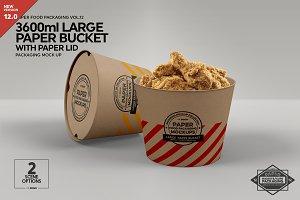 Large Paper Bucket Paper Lid Mockup
