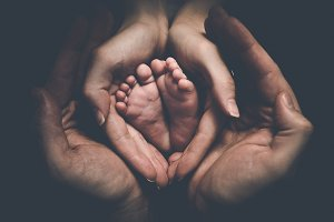 Baby feet in parents' hands 2