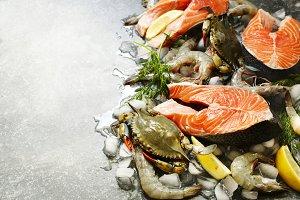 Fresh seafood, salmon steak, shrimps