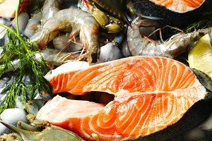 Fresh seafood, salmon steak and shri