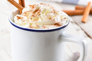 Hot Cocoa in white mug with cinnamon