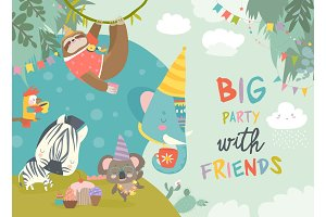 Vector birthday background with