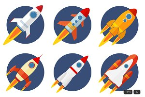 Vector Rocket with Flat Design