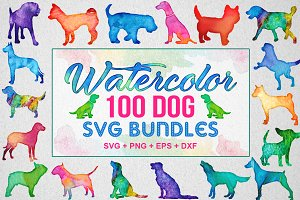 100+ Watercolor Dog Bundle