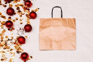 New Year's discounts. gift bag. Chri