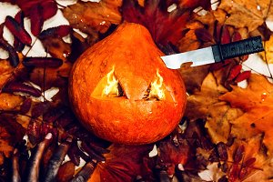 halloween fire pumpkin with a scary